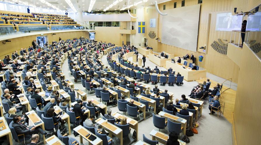 Sveriges riksdag hotad